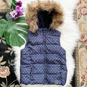 Gap Girls Blue Polka Dots Puffed Hooded Vest M